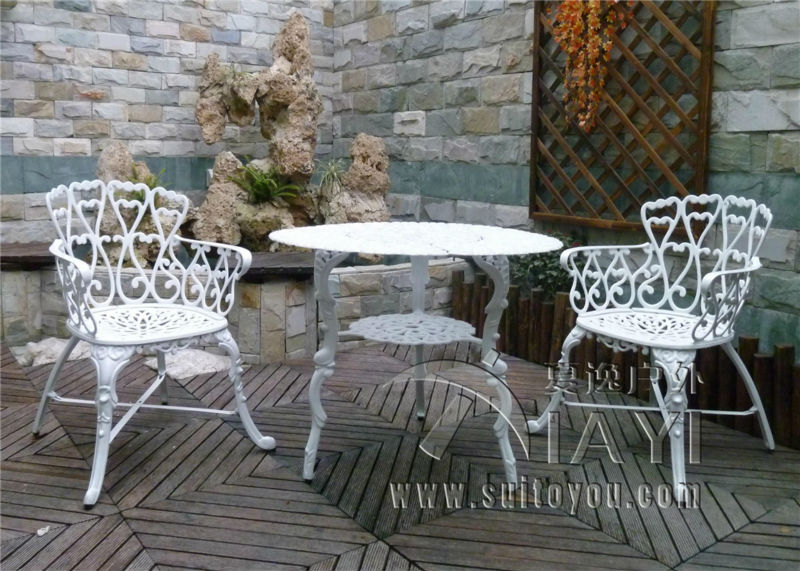 3 Piece Cast Aluminum Coffee Set Patio Furniture Garden Furniture Outdoor  Furniture (white)