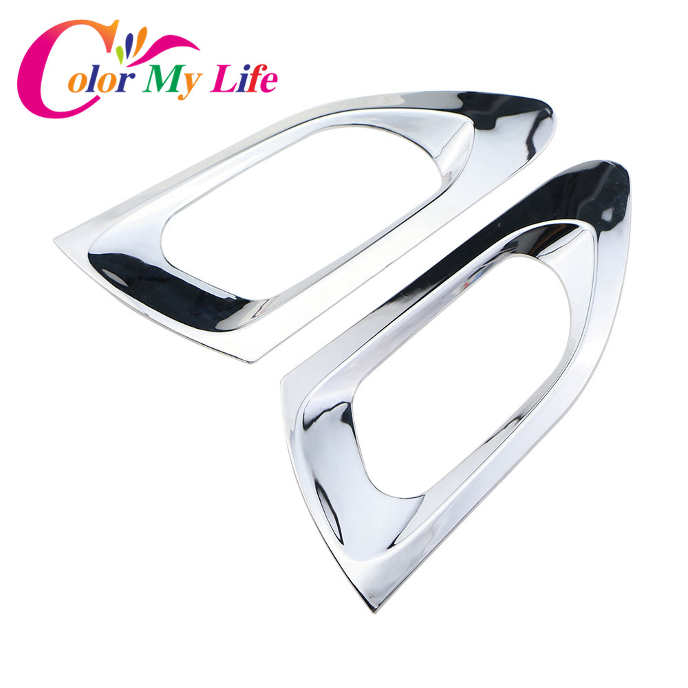 Color My Life 2Pcs/Set ABS <font><b>Chrome</b></font> Inner Rear Door Circle Trim Sticker for <font><b>Peugeot</b></font> <font><b>208</b></font> 2008 2014 2015 2016 Accessories Stickers image