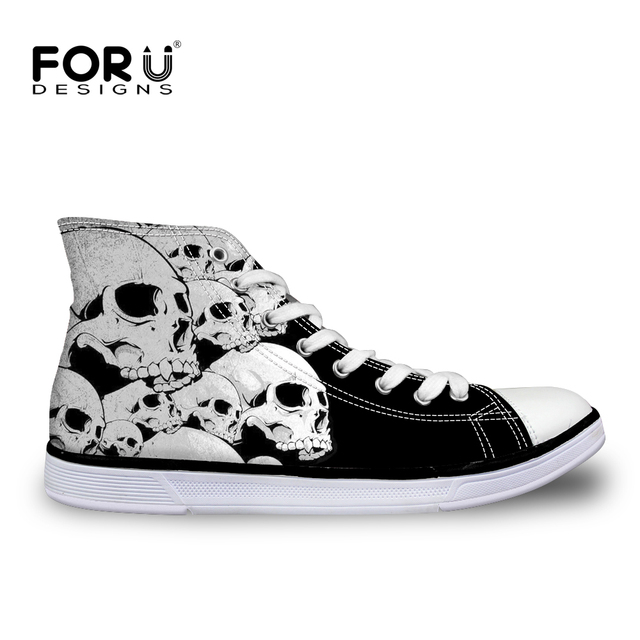 FORUDESIGNS 2017 Brand High Top Canvas Shoes for Women Fashion Skull Pattern Shoes Casual Femme Lady Flat  Shoes Zapatos Mujer
