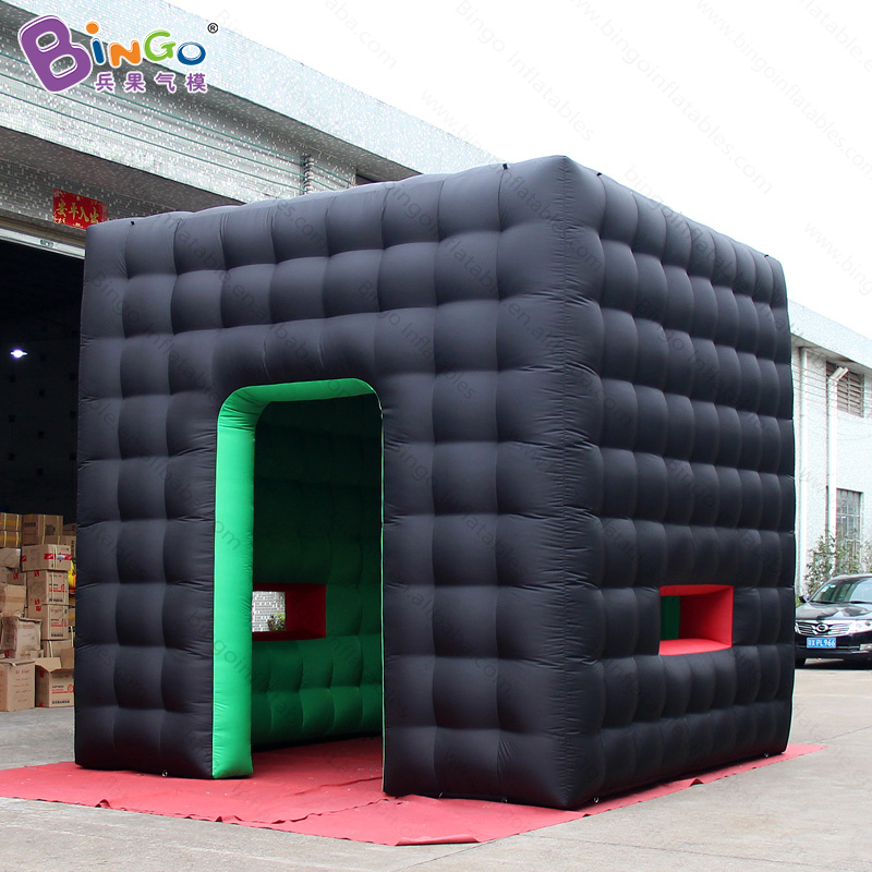 4m x 4m x 4m black exterior green interior inflatable cube booth / inflatable square tent / airblown cube tent toy tent attractive advertising inflatable booth white or colorful inflatable cube tent