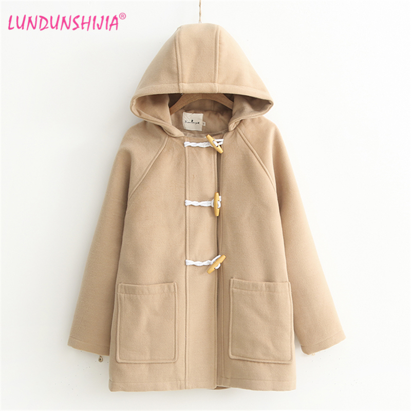 LUNDUNSHIJIA Wool Coat 2018 New Arrival Autumn Winter Women Horn Buckle Hoodies Coat Fashion Female Outerwear