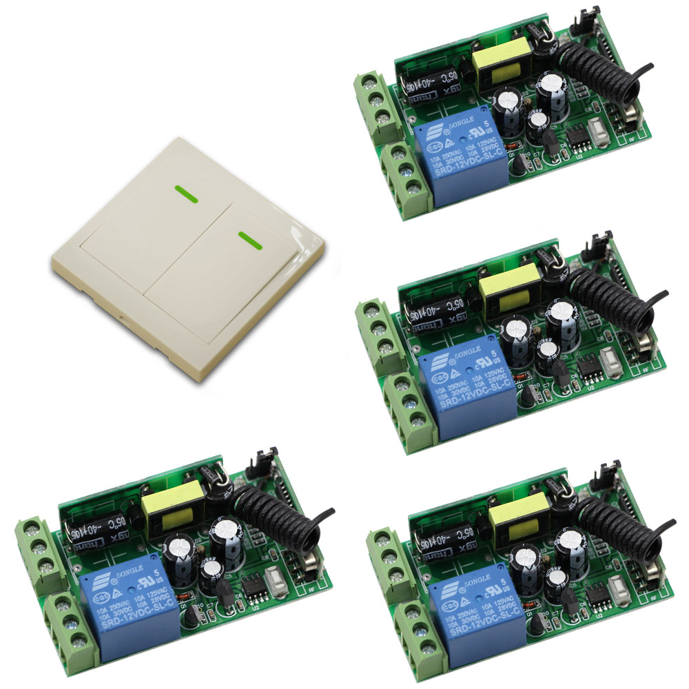 Smart Home AC85V 110V 120V 220V 250V 1CH RF Wireless Remote Control Switch System Wall Transmitter & 4*Receiver for Hall Bedroom