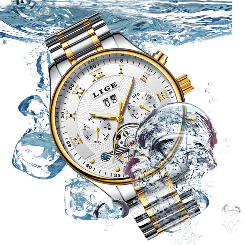 Mens Watches Top Brand LIGE Luxury Men Fashion Military Business Automatic Watch Man Full Steel Waterproof Mechanical Watches cengage learning gale a study guide for louise erdrich s the beet queen