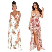 f9cea1c6d1f Casual Maxi Dress Summer Women Floral Print Bohemian Dress V-Neck  Sleeveless Elegant Dress Backless