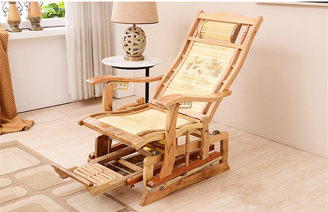Modern Rocking Chair Bamboo Furniture Outdoor/Indoor Rocker Reclining Back  Recliner Mechanical Bamboo Rocking Chairs