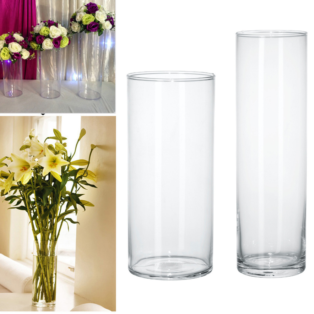 Acrylic cylinder vase clear round plastic wedding table for Acrylic decoration