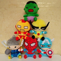 Новое поступление мстители 2 супер герои плюшевые игрушки тор соколиный глаз паук капитан америка железный человек халк куклы мультики милый подарок