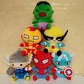 Nueva llegada the Avengers 2 Super Heroes peluches Thor Hawkeye Spiderman capitán américa Iron Man Hulk muñecas niños de dibujos animados lindo regalo