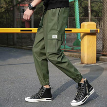 Outdoor 2019 cargo elastic waist multi pocket harem pants men straight tactical trekking hiking teenagers trousers