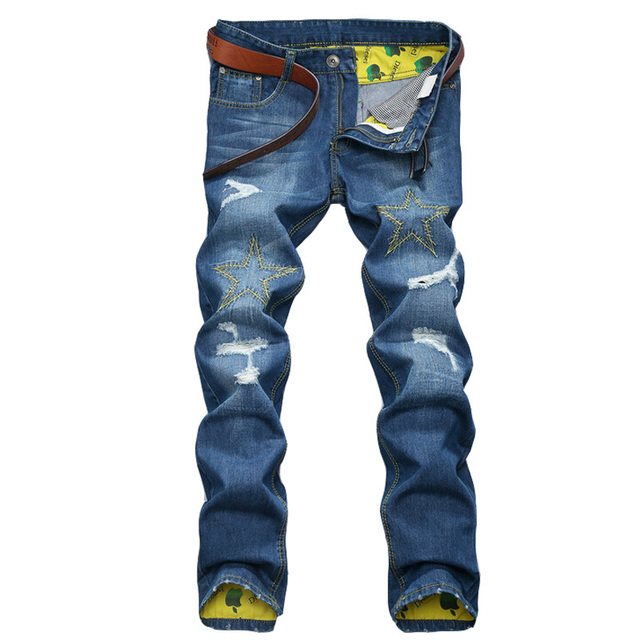 High quality Business men jeans pants  Casual Straight ripped Jeans new printed jeans men jeans homme