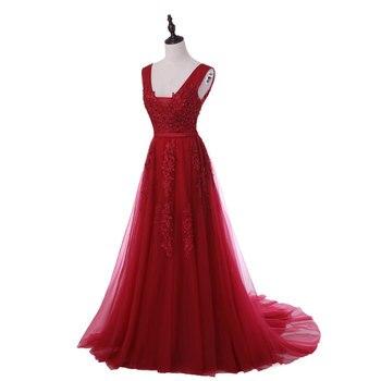 New arrival sexy party evening dresses Vestido de Festa A-line prom dress lace beading Robe De Soiree V-neck dress with Zipper 4