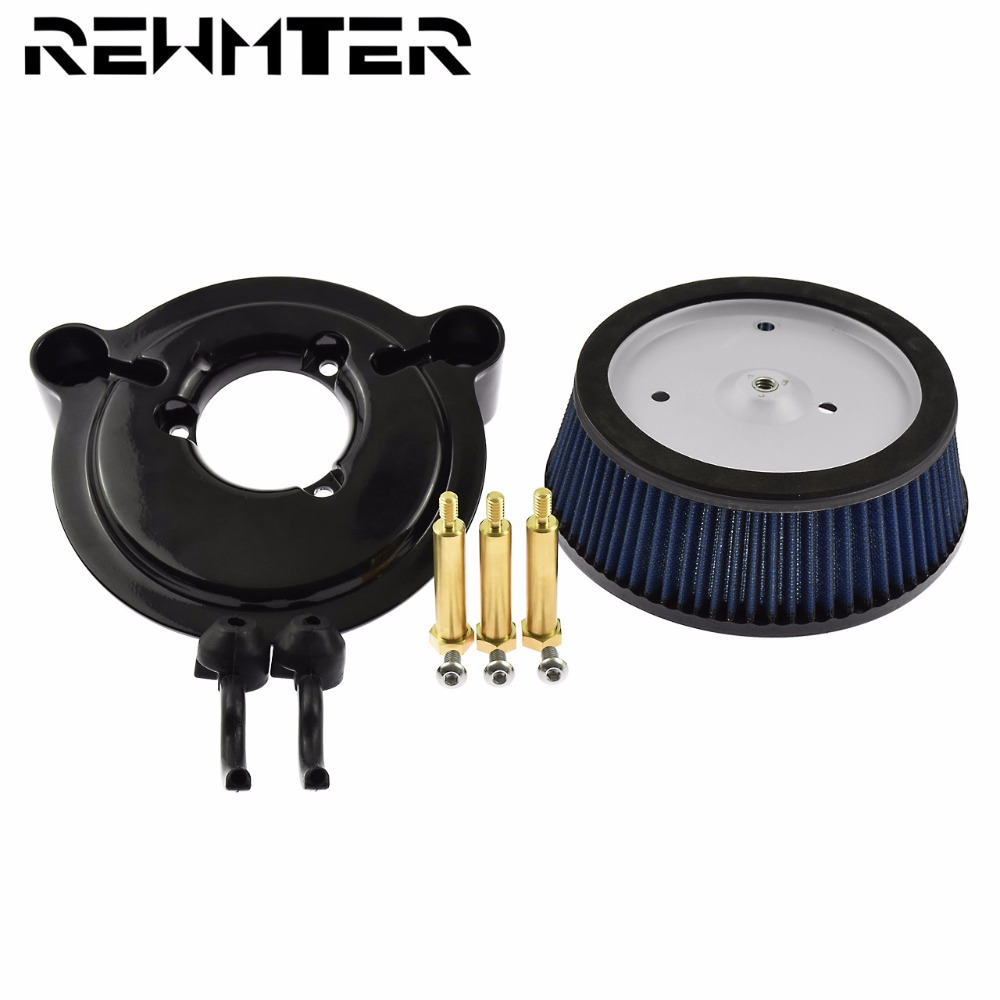 Motorcycle Air Filter System Blue Cleaner Aluminum For Harley Dyna 2000-2017 Softail 2000-2013 2014-2015 Touring 2000-2007 image