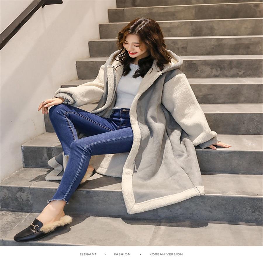 Vêtements Augmentation Laine Cerf Manteau Velours Section Fourrure À De khaki Nouveau Femmes Taille Rouge Gray Grande Capuchon Lâche Longue Hiver Net 2019 Chaud ITpRwW