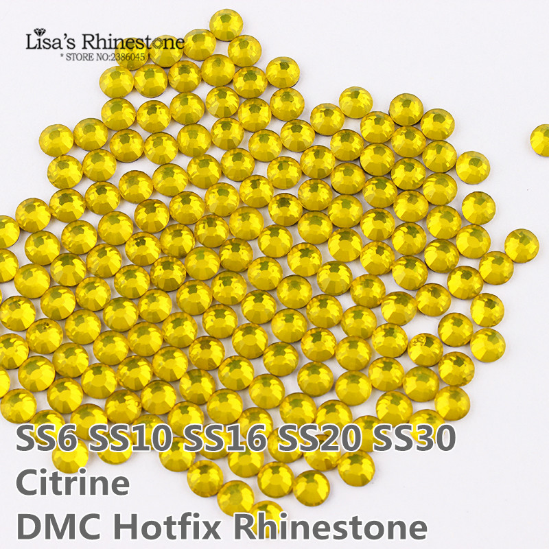 Citrine DMC Hotfix Rhinestones ss6 ss10 ss16 ss20 ss30 Flatback Iron On Strass Loose Stone For Clothes Christmas DIY