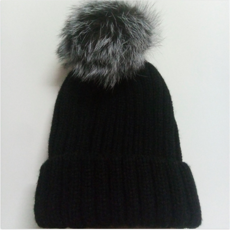 2017 New Women Winter Hats Beanies Caps Real Fox Fur Ball Pom Pom Hat Warm Hats For Females Fashion casquette chapeu feminino