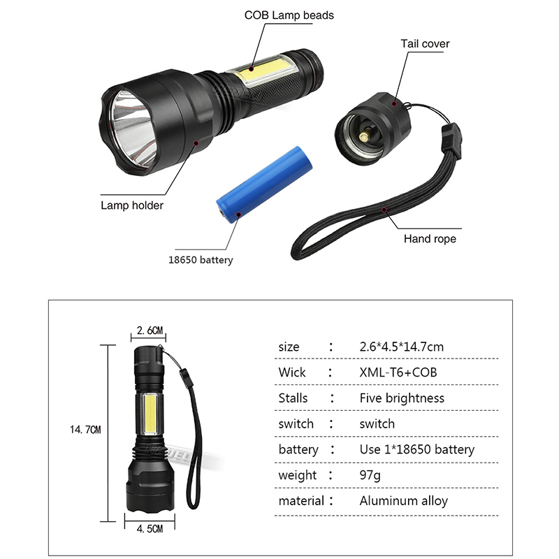 cob led flashlight cob cree xml t6 portable tactical flash light torch for bicycle Camping lights linterna 18650 battery zaklamp