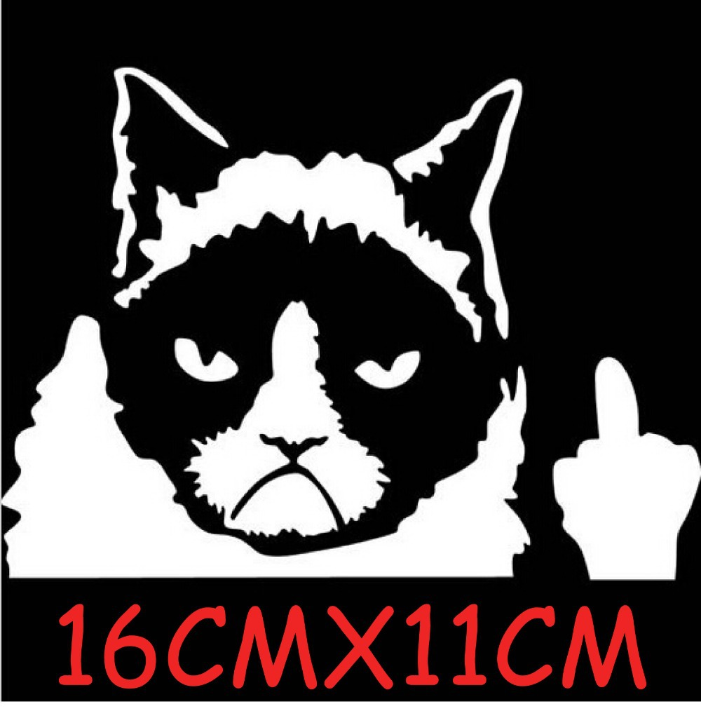 buy car styling grumpy cat vinyl car stickers and decals on rear windshield. Black Bedroom Furniture Sets. Home Design Ideas