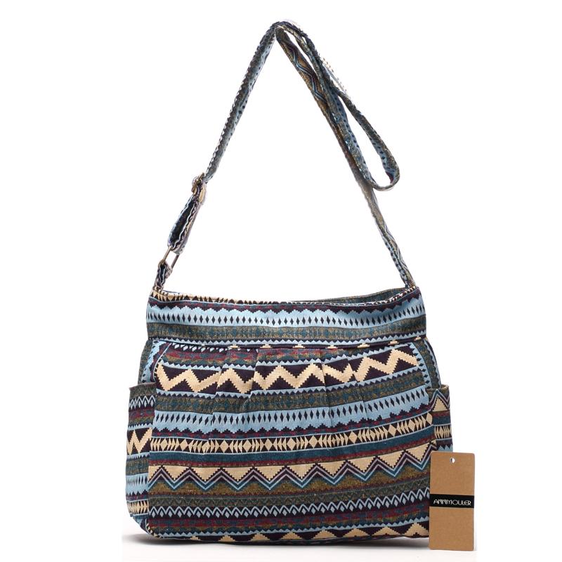 6bcd382a06a Annmouler Vintage Women Shoulder Bag Cotton Fabric Flap Bag Bohemian Style  Messenger Bag Elephant Print Crossbody Zipper Bag