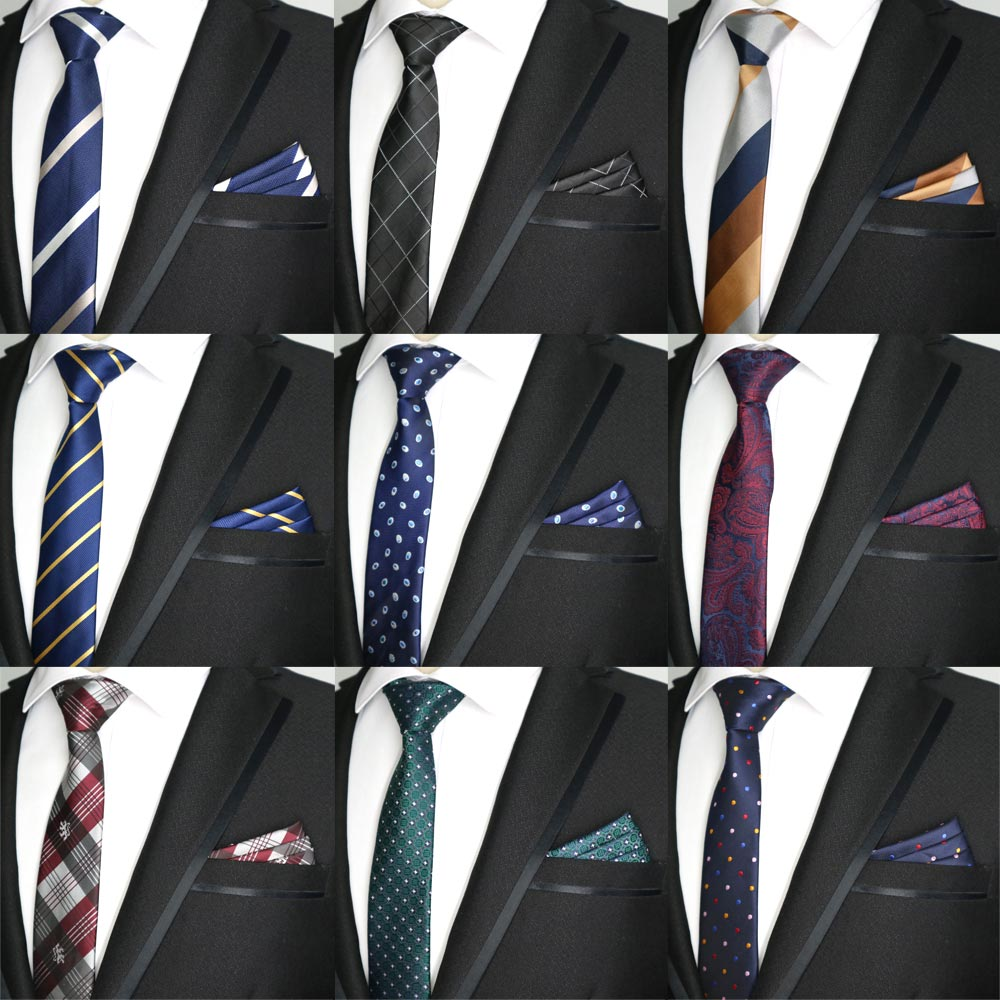 27 Color 6CM Men Tie Set Skinny Polyester Silk Dots Stripe Paisley Design Slim Ties Pocket Square Sets Narrow Necktie Red Black
