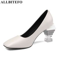 ALLBITEFO 2019 new arrive genuine leather women heels high heel shoes strange heels square toe sexy spring ladies shoes women
