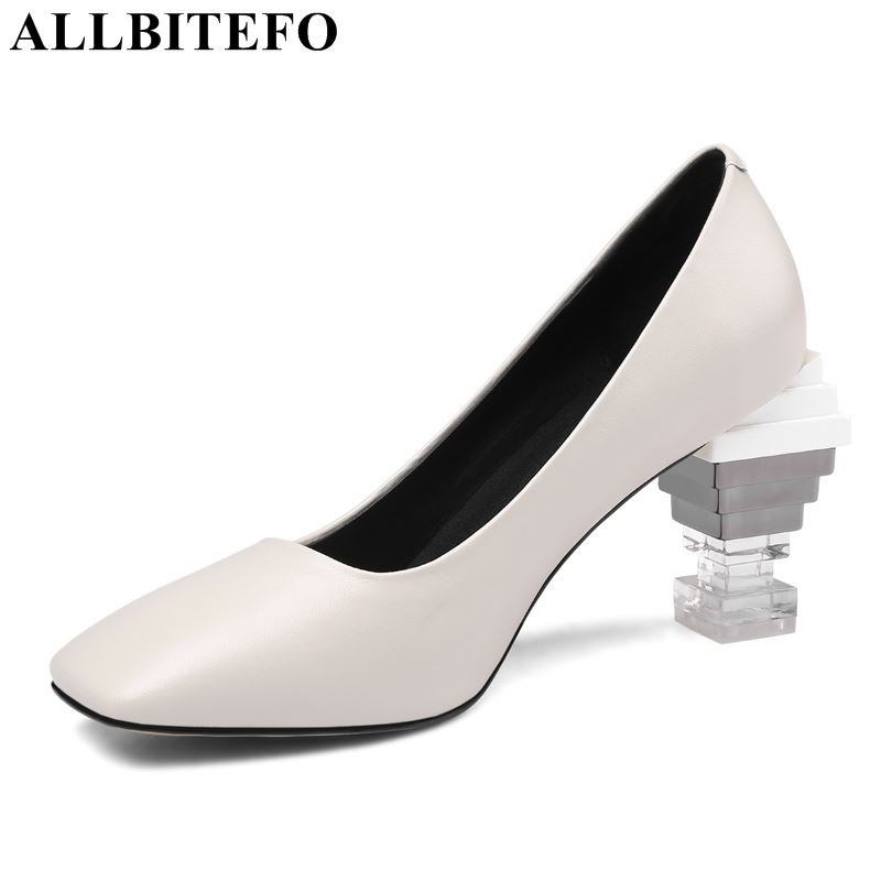 ALLBITEFO 2019 New Arrive Genuine Leather Women Heels High Heel Shoes Strange Heels Square Toe Sexy Spring Ladies Shoes Women