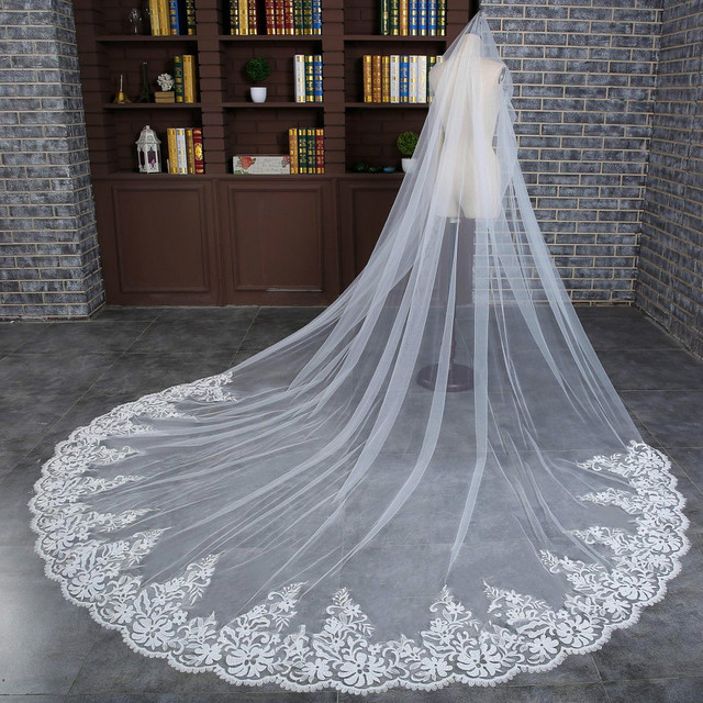 3 M Wedding Veil Cathedral One Layer Lace Appliqued Long Bridal Veils With Comb Woman Marry Gifts 2018 New hot Accessories