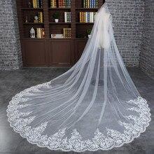 3 m 웨딩 베일 대성당 한 레이어 레이스 빗 여자와 함께 긴 신부 베일 appliqued 결혼 선물 2018 새로운 핫 액세서리