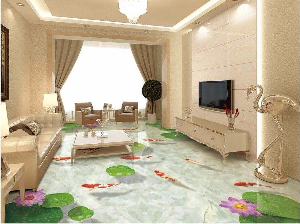 Waterproof Bathroom Walllpaper: 3d Flooring Marble Flooring 3D Lotus Carp Waterproof