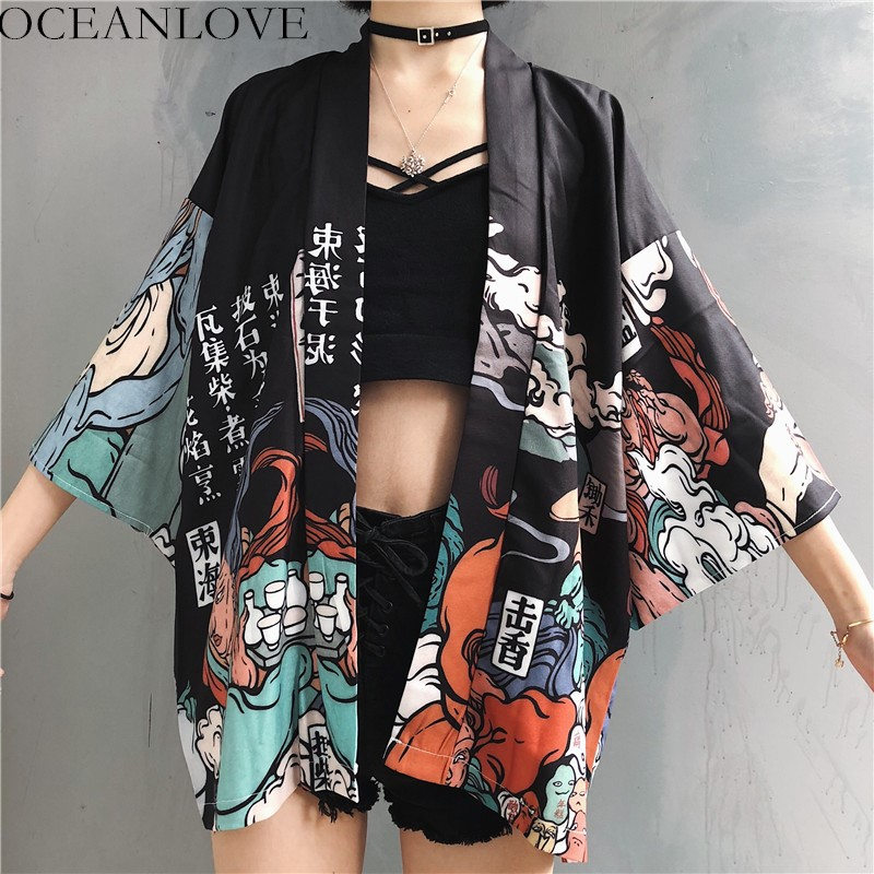 OCEANLOVE Harajuku Japanese Kimono Print 2019 Chimono Summer Cosplay Yukata Women Tops Sunscreen Fashion Thin Loose Blouse 11192(China)