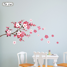 Beautiful Sakura Flowers Wall Stickers Living Bedroom Decorations DIY Home Decals Mural Arts Poster PVC Removable WallPaper