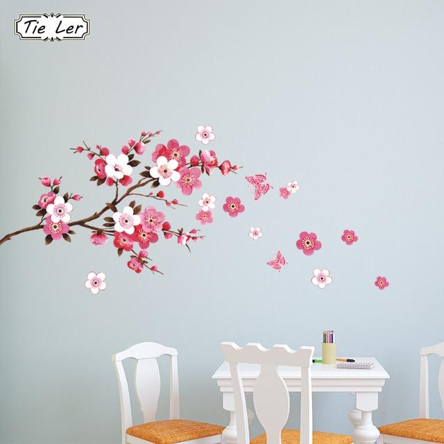Piękne Sakura kwiaty naklejki ścienne salon sypialnia dekoracje kalkomanie domowe DIY ścienne sztuki plakat pcv wymienny tapety