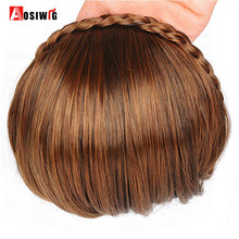 AOSIWIG Short Bangs Braid Blunt Natural Hairpieces Heat Resistant Synthetic Women Hair 2 Styles Available Natural Fake Hair(China)