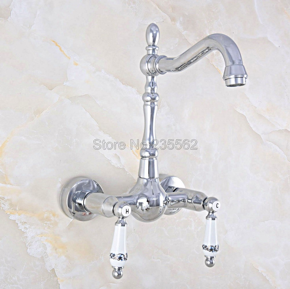 Chrome Wall Mounted Bathroom Basin Faucet / 360 Swivel Spout Kitchen Sink Mixer Taps   lnf565Chrome Wall Mounted Bathroom Basin Faucet / 360 Swivel Spout Kitchen Sink Mixer Taps   lnf565