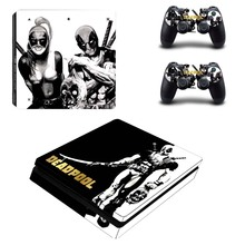 DealPool Protector Vinyl Skin Kit Deal Pool Decals for Play Station 4 Slim Console + 2 Controller PS4 Slim S Skin Sticker
