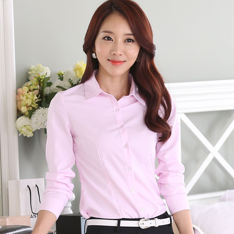 Classic Office Lady Cotton White Shirts Plus Size S-3XL OL Style Turn Down Collar Long Sleeve Design Women Formal Casual Blouse