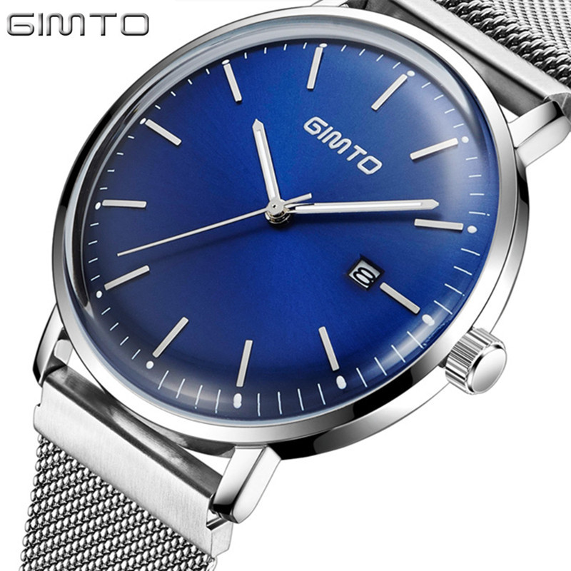 Fashion Simple stylish Top Luxury Brand GIMTO Watches Men Stainless Steel Mesh Watches Casual Quartz Watch Men Wrist Sport Watch купить