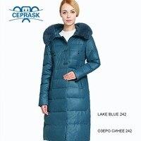 2019 New Winter Jacket Women Really Fur Plus Size Long Hoodie Warm Winter Coat Womens Biological Down Female Parka 6XL CEPRASK