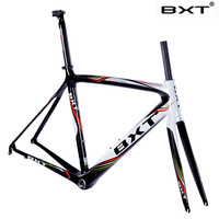 BXT Fashion Design 500 530 550mm Carbon Fiber Road Bike Frame Fork Seatpost Clamp Headset Bicycle