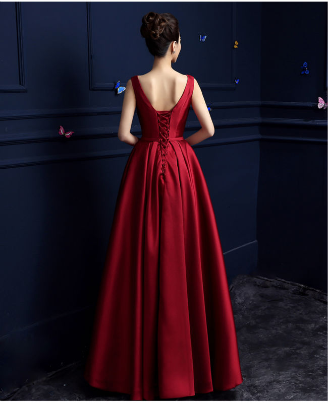 Elegant Burgundy Evening Long Dresses Satin Gown Prom Formal Dress 2017  Simple Elegant Formal Party Banquet Vestidos Longo BK201-in Evening Dresses  from ... 46f69bbb5b80