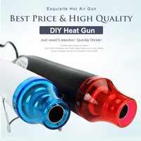 Pistola de calor pistola de aire caliente eléctrica para bricolaje con herramienta eléctrica con asiento de soporte 220V 300W secador de pelo soldadura eléctrica