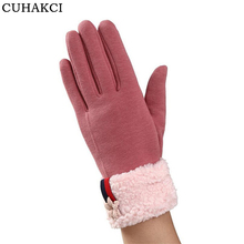 Фотография CUHAKCI Winter Gloves Cashmere Guantes Floral Casual Touchscreen Gloves Women Snow Ski Mittens Pink Thick Warm Dot Skid Glove