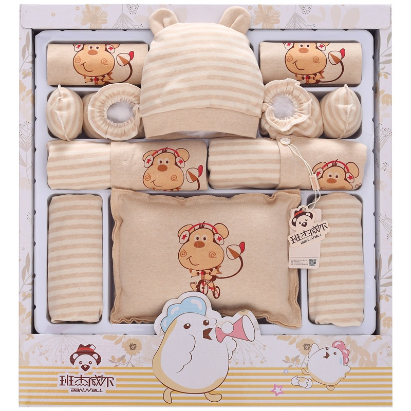 ФОТО 16Pcs/Lot 2017  Newborn Baby Girl Clothes Autumn  Monkey and Iridescent cloud Gift Box Set  Cotton Character Baby Boy Clothes