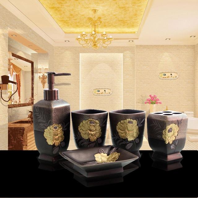 5Pcs/Set Luxurious Golden Flower Hotel Bathroom Toiletries Accessories Sets  Home Furnishing Supplies Wedding Gift