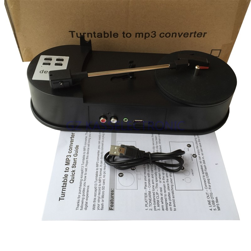 2017 KASSEXUN turntable to mp3 converter, Convert old vinyl to MP3 standalone in USB drive or TF Card, Free shipping