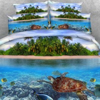 Royal Linen Source Brand 4PCS PER SET Turtle Swimming in the lovely Maldives islands Boy Bed sheet Children Bed Cover