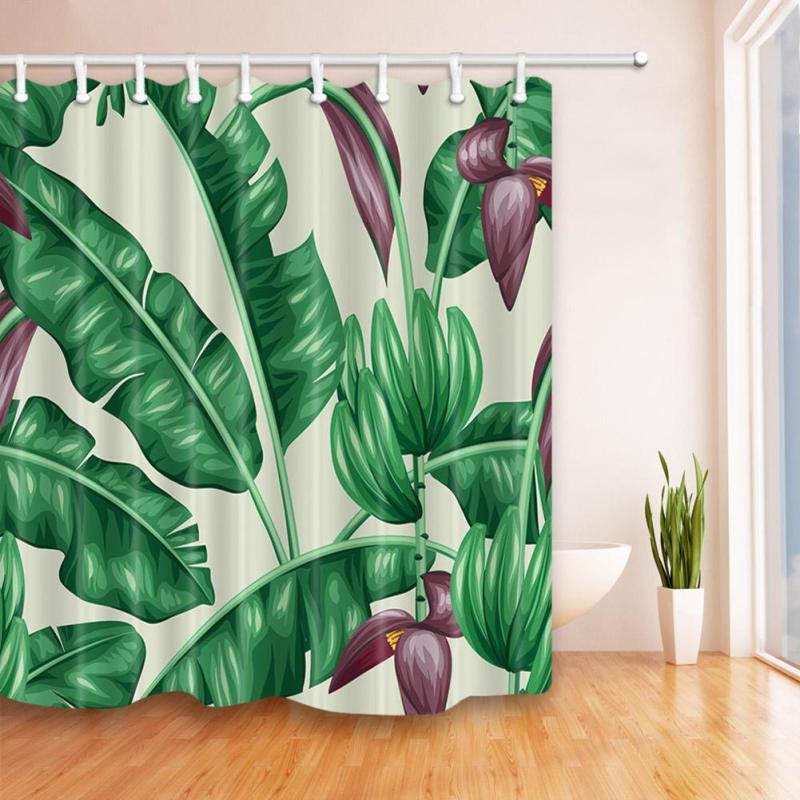 Cactus Tropical Plants Pattern Shower Curtain Bathroom Curtain 3D Eco-Friendly Waterproof Curtain Shower Fabric Home Decor S3