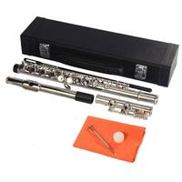 USA stock 16 Holes C Key Flute Cupronickel Silver Plated Concert Flute with Cleaning Cloth Stick Gloves Screwdriver Padded Bag