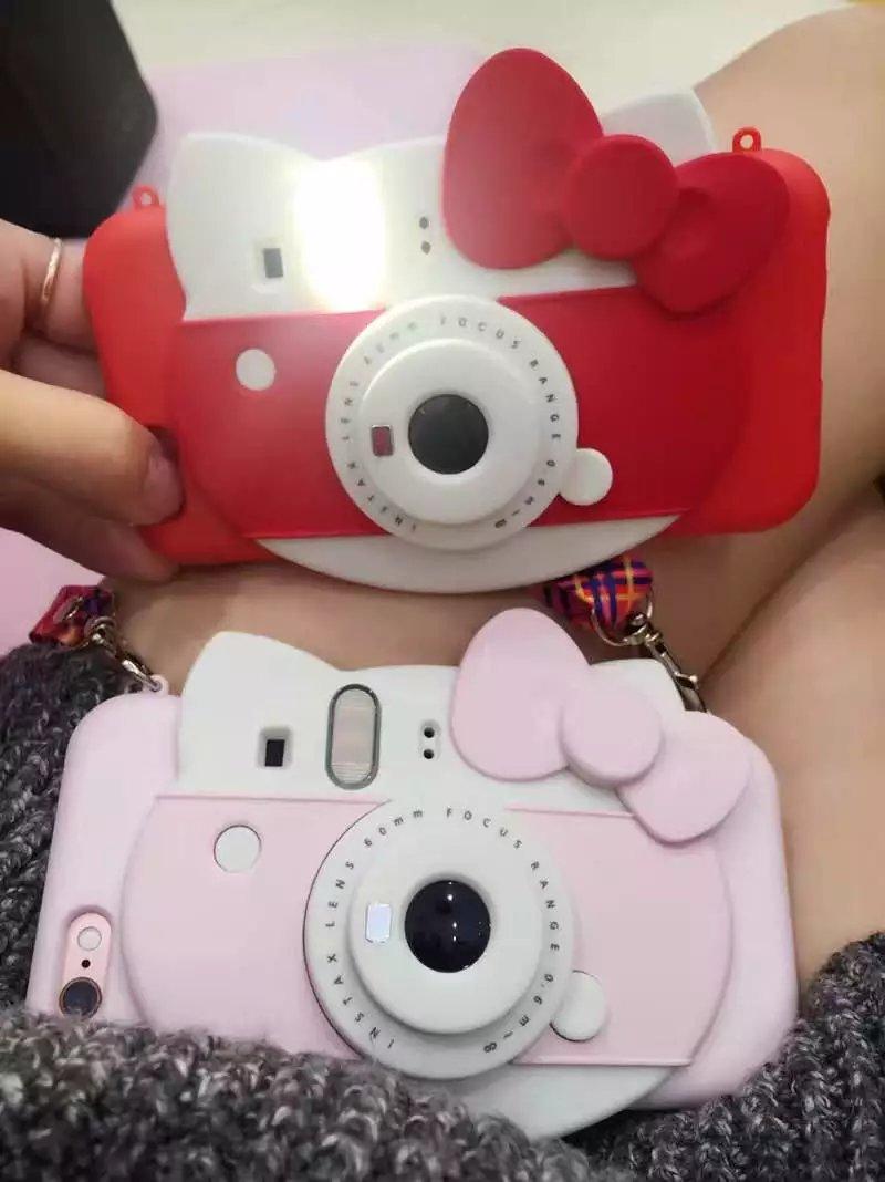 bilder für Neue 3D Hallo Kitty selbstauslöser Led-blitzlicht Telefonkasten für Iphone 6 6 s 6 Plus 7 7 plus Karikatur Tpu Kamera zurück Fall Deckung
