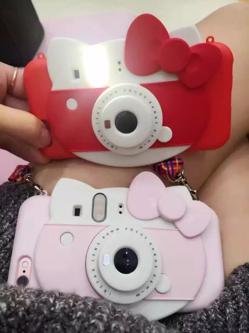 New 3D Hello Kitty Self-timer Led Flash Light Phone Case for Iphone 6 6s 6Plus 7 7plus Cute Cartoon Tpu Camera back Case Cover