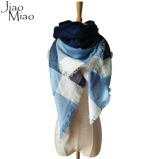 Jiao MiaoWinter Autumn Scarf Knit Oversize Blanket Tartan Plaid Stole Designer Women Bandana Acrylic Scarf Shawl 140x140cm Wrap